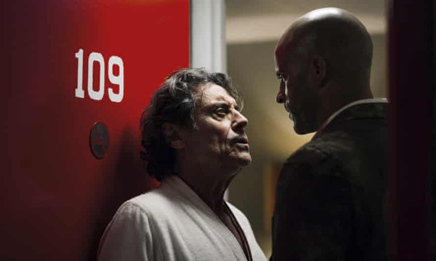 Ian McShane, left, and Ricky Whittle come to a head in American Gods.