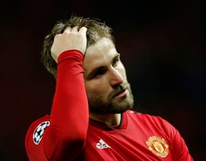 Manchester United's Luke Shaw looks lost in his thoughts as he leaves the pitch after the final whistle.