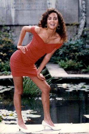 Model wearing a lycra dress, 1990.