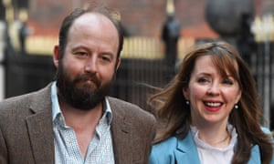 Theresa May's advisers Nick Timothy and Fiona Hill are pictured outside Conservative party HQ on Friday.