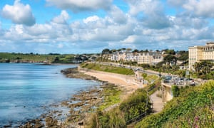 View over Gyllyngvase beach in Falmouth, Cornwall