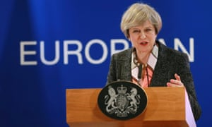 Theresa May gives a press briefing at the European spring summit in Brussels.