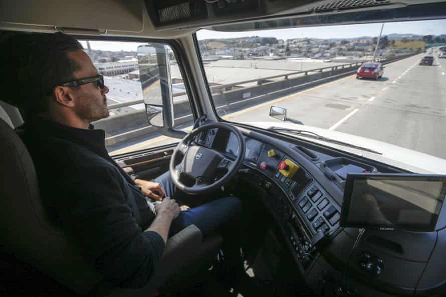 Matt Grigsby, senior program engineer at Uber startup Otto, takes his hands off the wheel of a self-driving truck.