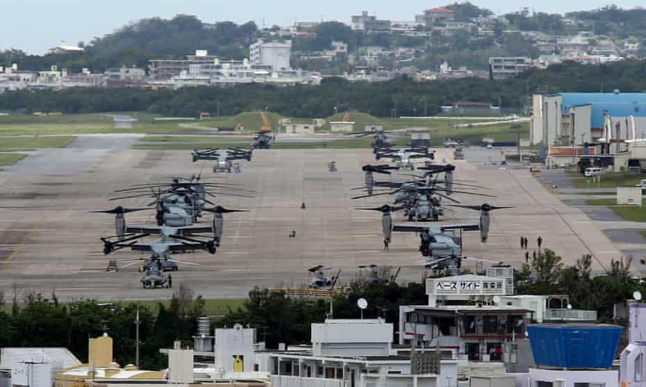 Military aircraft at a US airbase on Okinawa