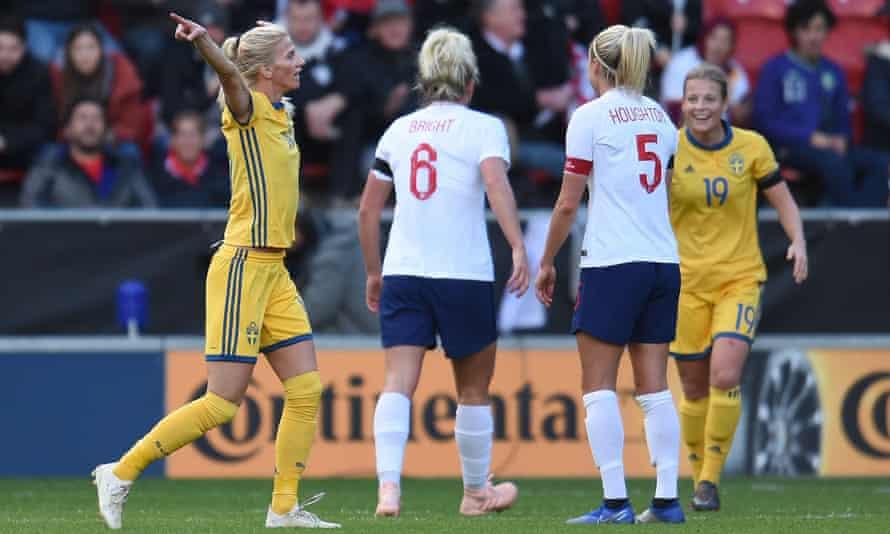 Sofia Jakobsson celebrates her goal against England in November
