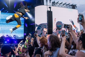 Swae Lee of Rae Sremmurd stage dives at Wireless festival.