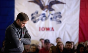 Marco Rubio pauses as he takes a question from the audience while speaking in Clinton, Iowa, on Tuesday. 'Candidates, as we get down the home stretch, some of them get a little desperate and a little nasty in their attacks,' he said.