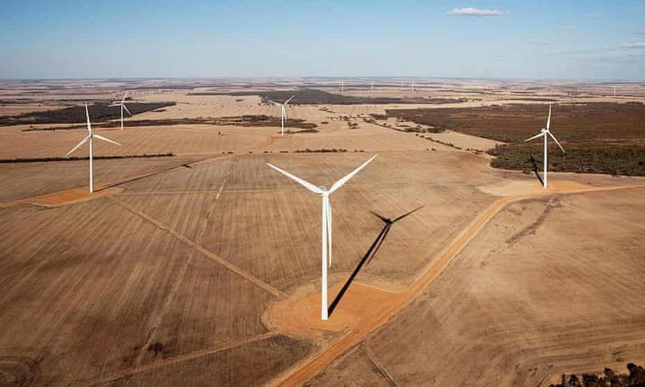 Turbines at Collgar windfarm near Merredin, Western Australia. The field of 111 turbines feed into the main Collie-Kalgoorlie power line.