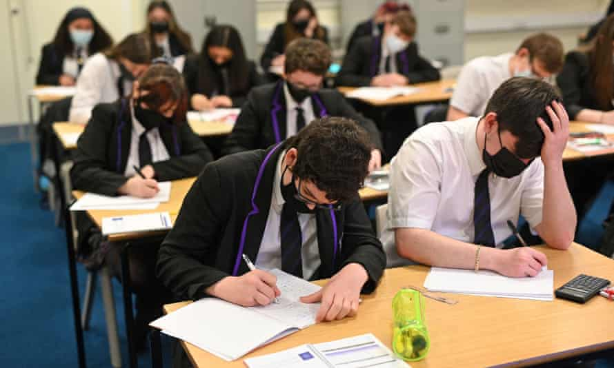 Year 11 students take part in a GCSE maths class at Park Lane academy in Halifax, West Yorkshire