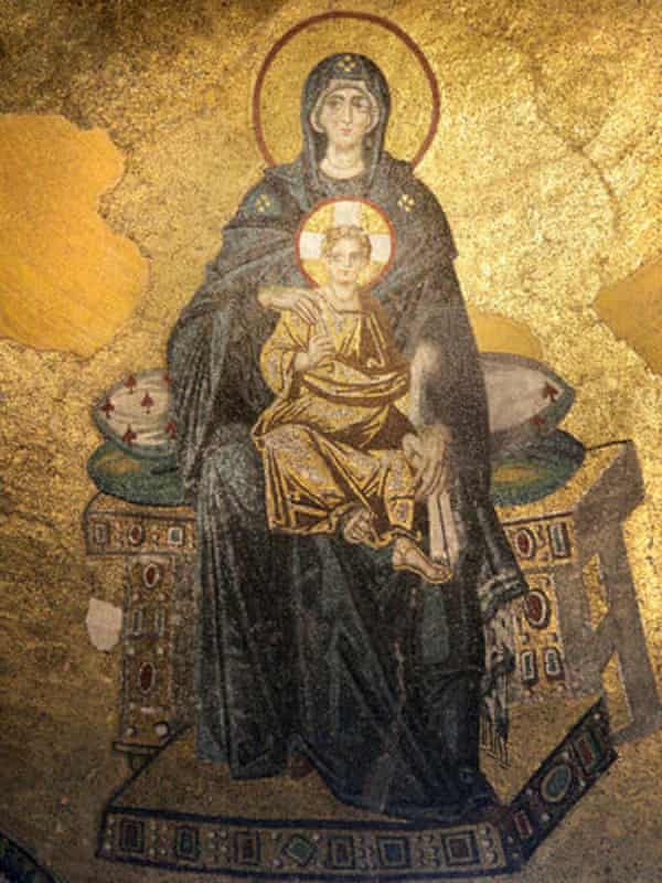 Mosaic of Mary and Jesus in the apse of the Hagia Sophia, Istanbul.