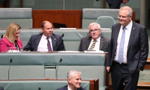 Rebekha Sharkie, Josh Frydenberg, Andrew Wilkie and Scott Morrison on the crossbenches as the government moves to bring on debate on the energy bills.