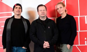 Von Trier promotes his new film, The House That Jack Built, with its US stars Matt Dillon and Uma Thurman.