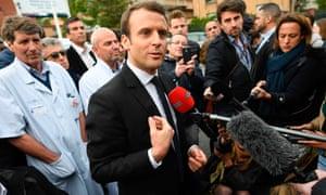 Emmanuel Macron campaigning near Paris on Tuesday.