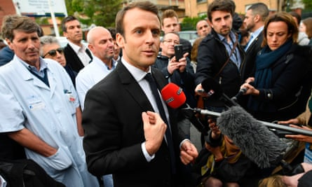 Emmanuel Macron campaigning near Paris on Tuesday.