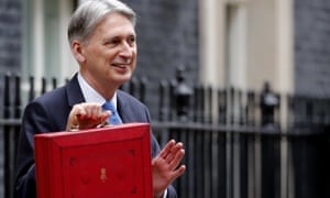 Britain's chancellor of the exchequer, Philip Hammond, poses as he holds up the traditional red dispatch box outside 11 Downing Street before delivering his annual budget speech on 22 November.