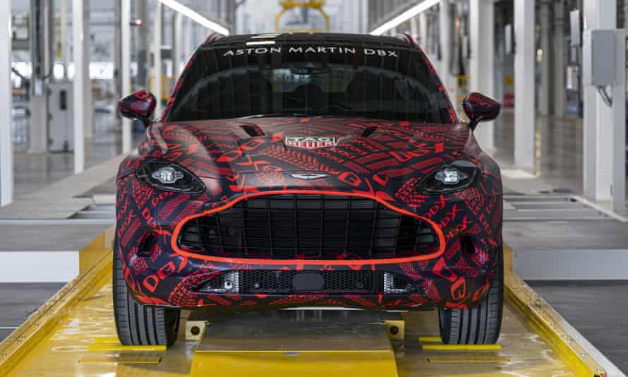 Aston Martin's first SUV, the DBX, inside their factory in St Athan in South Wales.