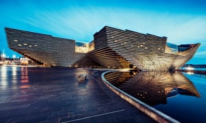 Dusk shot of the new V&A museum and gallery on Dundee's historic waterfront; Scotland.