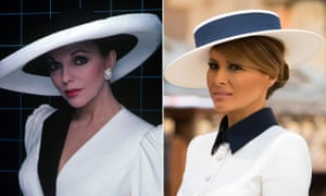 Joan Collins as Alexis Colby in Dynasty (left) and Melania Trump