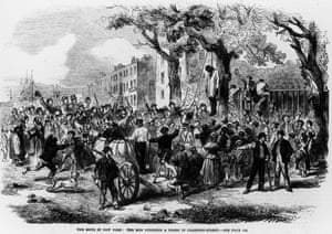 A mob lynching on Clarkson Street, New York City, during the draft riots of 1863.
