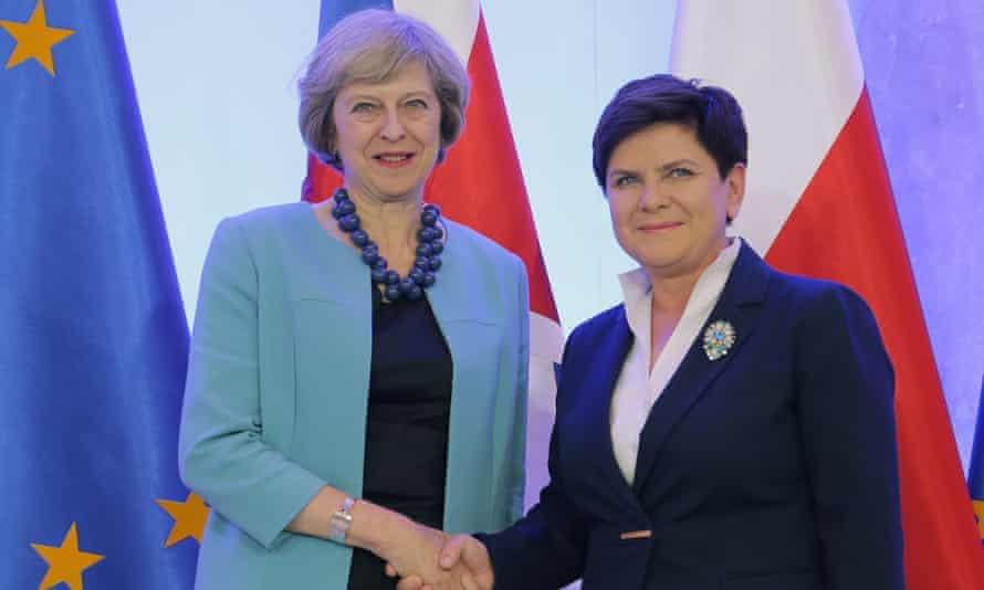 Theresa May with Beata Szydło