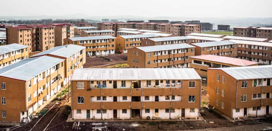 View over cheaper and older apartments in Bole Arabsa, one of the largest new estates far from the city centre. New construction of condominium buildings outside Addis Ababa, Ethiopia, for cities