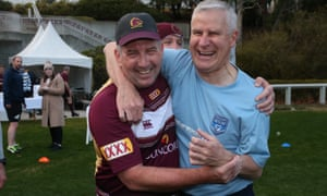 Keith Pitt and Michael McCormack at the annual NSW-Queensland political State of Origin football game last year