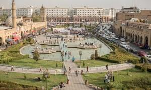 The park below the citadel in central Erbil, Iraq.