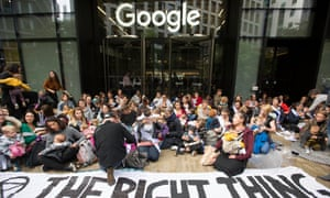 Extinction Rebellion activists outside Google