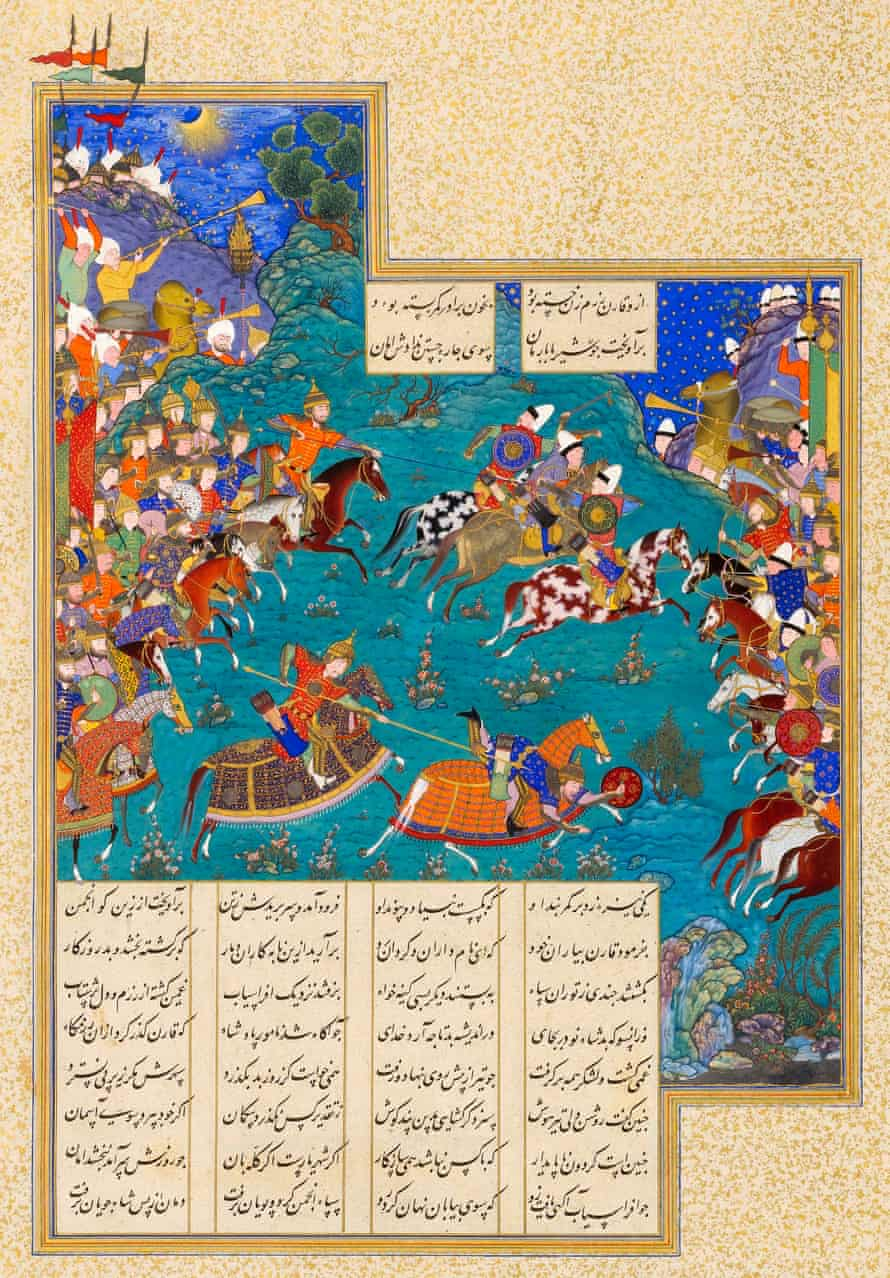 Qaran Unhorses Barman, from the Shahnameh of Shah Tahmasp, about 1523–35.
