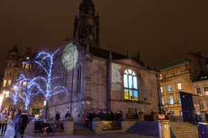 William Dalrymple's words projected on to Tron Kirk