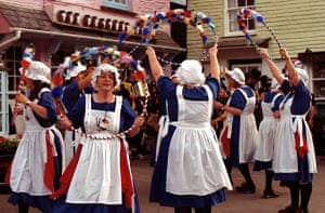 Maid for dancingThe Plymouth Maids morris troupe performing at the annual Polperro festival in Cornwall