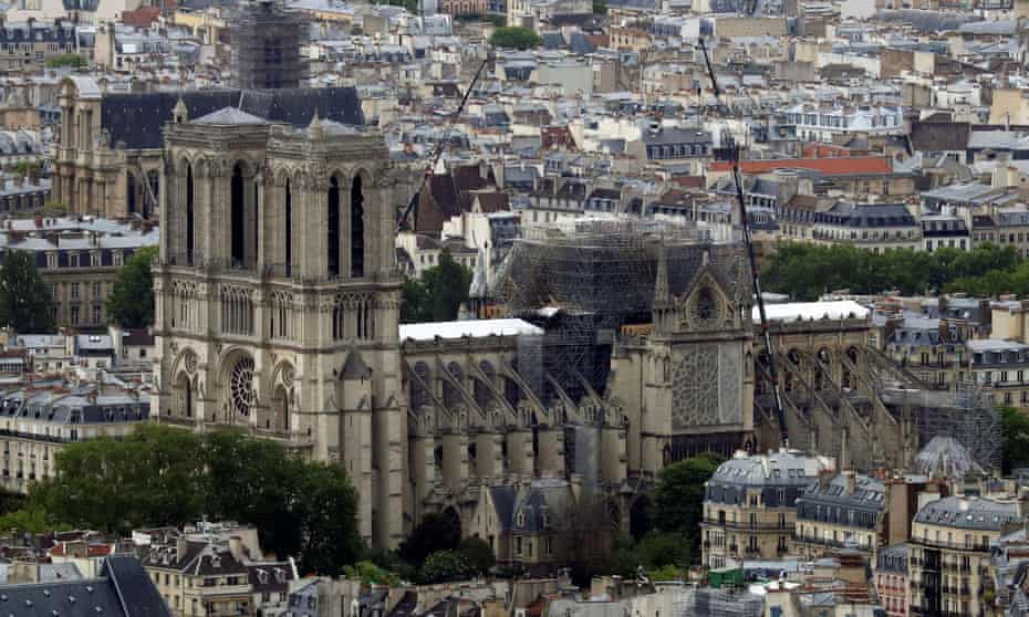 Notre Dame cathedral after a massive fire devastated large parts of the Gothic structure.
