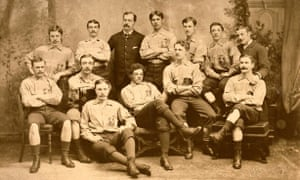 Andrew Watson, seated center, with the Scotland team in 1881.