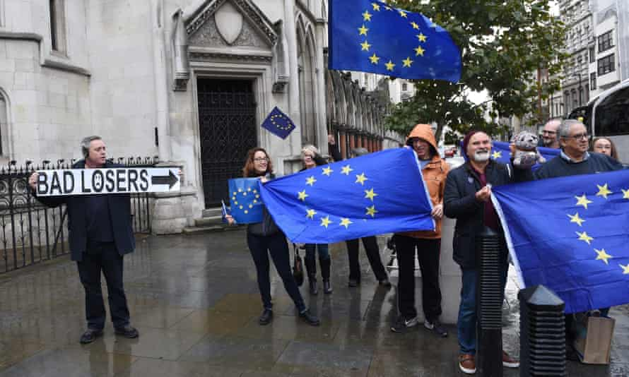 Deeply divided: rival factions outside the royal courts of justice in London, in November, when the high court ruled that parliament should vote on Brexit.