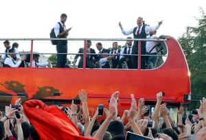Albania coach Giovanni de Biasi and the Albanian team are welcomed by fans in Tirana, Thursday, June 23, 2016.