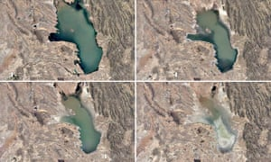 Lake Poopó, Bolivia … composite of images taken from Google's timelapse tool.