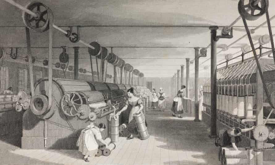Women and children operating machinery in a cotton mill.