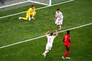 Switzerland's goalkeeper Yann Sommer (left) reacts as Cesar Azpilicueta and Alvaro Morata (back) celebrate their Spain's goal.