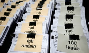 Bundles of ballot papers at the counting centre in Manchester Central after Thursday's EU referendum.