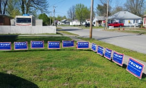 Signs supporting Trump dot the roads in Metropolis.