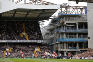 The new stadium taking shape in April 2017 as the current stadium hosts neighbours Arsenal for the last time.