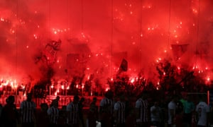 Olympiakos fans before a Greek Super League match in December.
