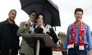 Michael Jackson and Uri Geller and Exeter City FC in June 2002.