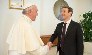 Pope Francis meeting Mark Zuckerberg in the Vatican