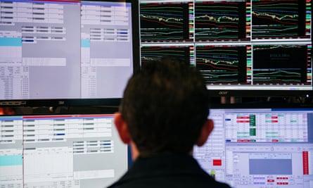 The New York Stock Exchange as markets tumble