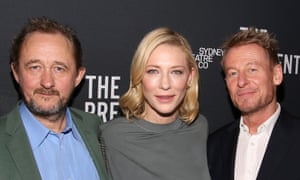Cate Blanchett attends the opening night party of The Present with co-star Richard Roxburgh, right, and its director, John Crowley.