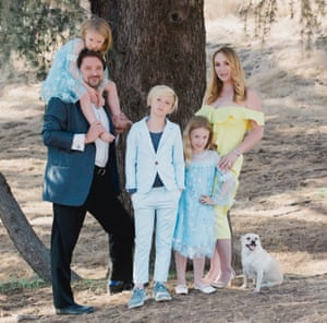 Jenna Karvunidis, a pioneer of the gender reveal party, with her family.