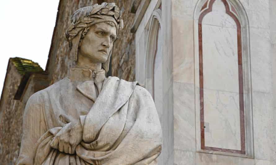 An 1865 sculpture of  Dante Alighieri by Enrico Pazzi by the Basilica di Santa Croce in Florence