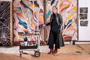Emma Talbot in her studio with her work When Screens Break, 2020.