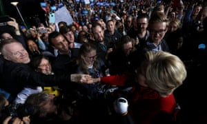 Hillary Clinton greets supporters during a campaign rally in Cincinnati.